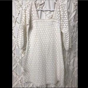 Solitaire by Ravi Khosla White Crochet Boho Dress